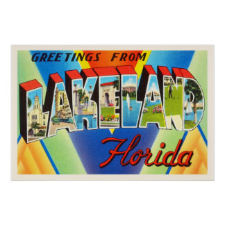 Lakeland Florida FL Old Vintage Travel Souvenir Poster