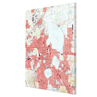 Lakeland Florida Map (1994) Canvas Print