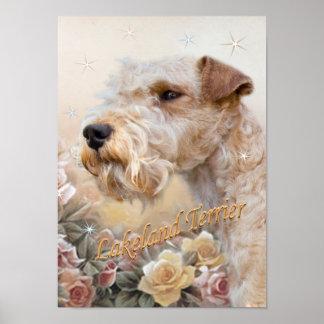 Lakeland Terrier entre impresiones de los rosas
