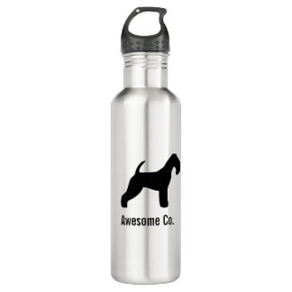 Lakeland Terrier Silhouette with Custom Text Stainless Steel Water Bottle