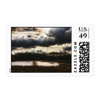 Lakeside at Dusk Postage Stamp