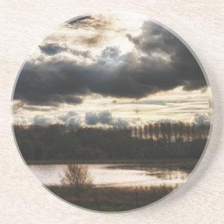 Lakeside at Dusk Sandstone Coaster