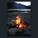 "Lakeside Bonfire Photo Print<br><div class=""desc"">Photograph of an inviting-looking bonfire at a lakeside campsite</div>"