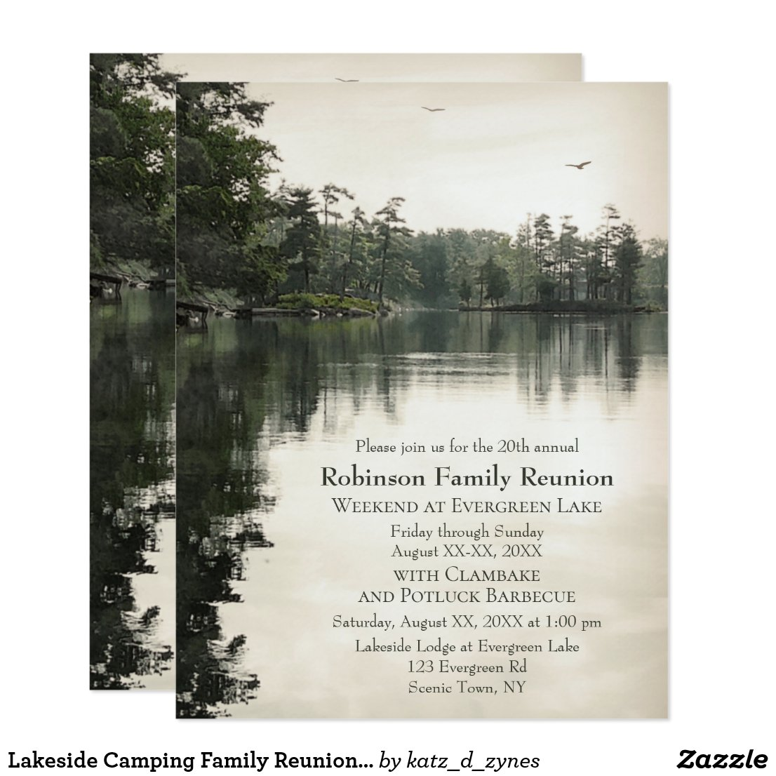 Lakeside Camping Family Reunion Jamboree Barbecue Invitation