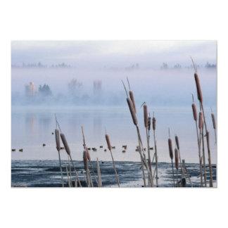 Lakeside Cattails In Morning Fog Card