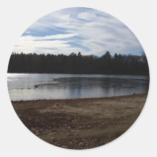 Lakeside in Autumn Classic Round Sticker