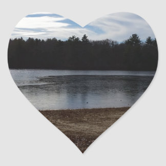 Lakeside in the Fall Heart Sticker