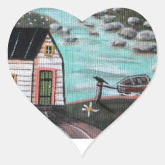 Lakeside Isle Seascape Heart Sticker