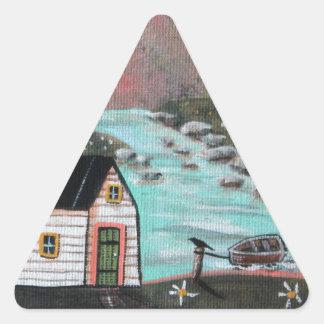 Lakeside Isle Seascape Triangle Sticker