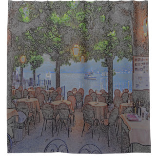 LAKESIDE ITALIAN OUTDOOR CAFE  UNDER TREE CANOPY SHOWER CURTAIN