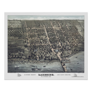 Lakeside, OH Panoramic Map - 1884 Poster