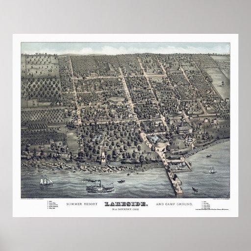 Lakeside, OH Panoramic Map - 1884 Print