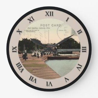 Lakeside Ohio Post Card Clock - Boat Landing 1910