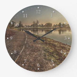 Lakeside Path at Dawn Large Clock