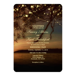 Lakeside Rustic String Lights Wedding Invitation
