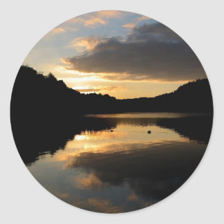 Lakeside Sunset Classic Round Sticker