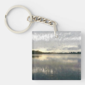 Lakeside Sunset Watercolor Keychain