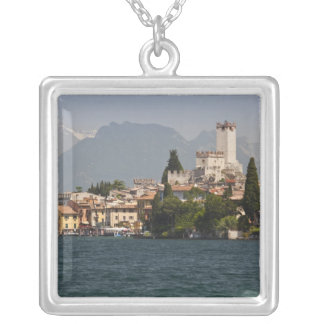 Lakeside town, Malcesine, Verona Province, Italy Square Pendant Necklace