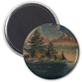 Lakeside Tranquility 2 Inch Round Magnet