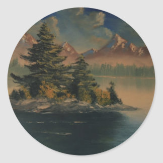 Lakeside Tranquility Classic Round Sticker