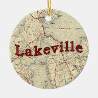 Lakeville Massachusetts Old Map Ceramic Ornament