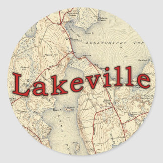 Lakeville Massachusetts Old Map Classic Round Sticker