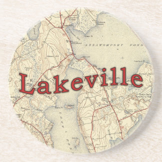 Lakeville Massachusetts Old Map Sandstone Coaster