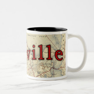 Lakeville Massachusetts Old Map Two-Tone Coffee Mug