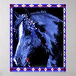 Lakhotah Buffalo horse by moonlight Poster