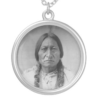 Lakota American Indian Chief Sitting Bull Round Pendant Necklace