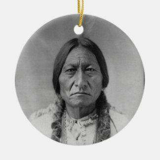 Lakota American Indian Chief Sitting Bull Double-Sided Ceramic Round Christmas Ornament