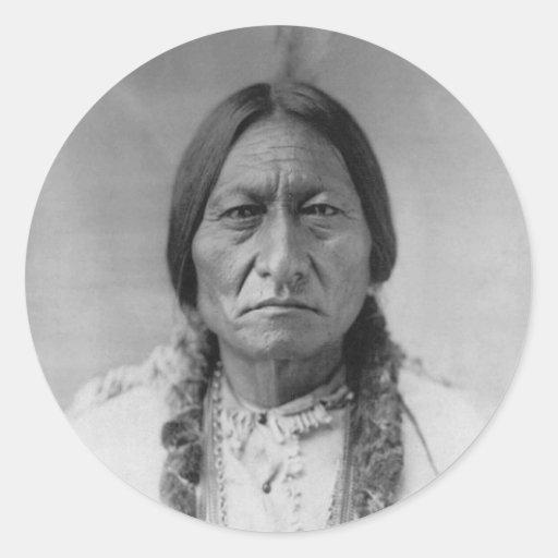 Lakota American Indian Chief Sitting Bull Round Stickers