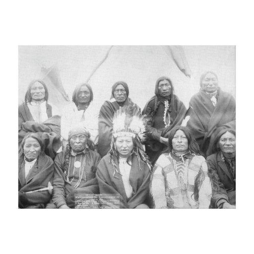 Lakota Indian Chiefs who Met General Miles to En Canvas Print