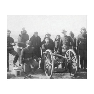 Lakota Scouts and White Soldiers Posed Behind Canvas Print