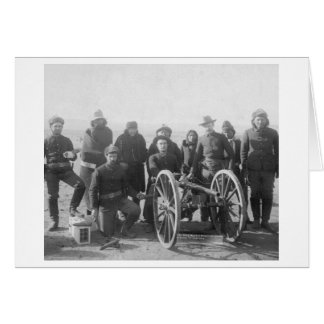 Lakota Scouts and White Soldiers Posed Behind Greeting Card