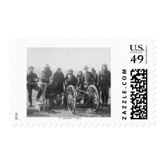 Lakota Scouts and White Soldiers Posed Behind Postage Stamp