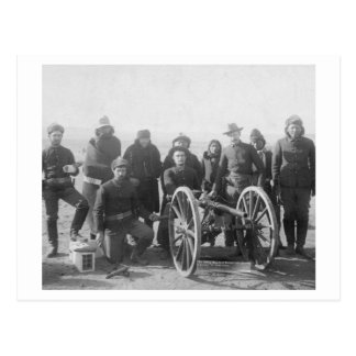 Lakota Scouts and White Soldiers Posed Behind Postcard