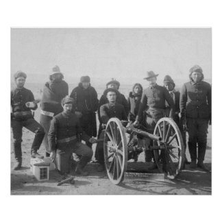 Lakota Scouts and White Soldiers Posed Behind Poster