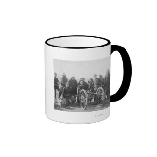 Lakota Scouts and White Soldiers Posed Behind Ringer Coffee Mug