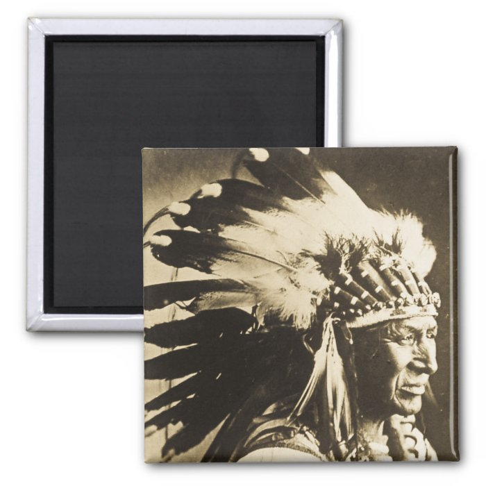 Lakota Sioux Chief White Swan 2 Inch Square Magnet