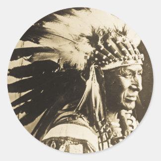 Lakota Sioux Chief White Swan Classic Round Sticker