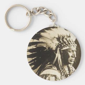 Lakota Sioux Chief White Swan Basic Round Button Keychain