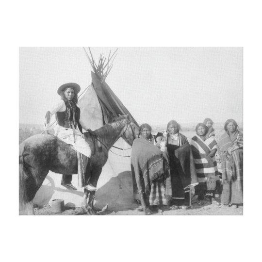 Lakota Women with Infants and Man on Horseback Canvas Print