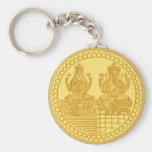LAKSHMI AND GANESH GOLD COIN DESIGN BASIC ROUND BUTTON KEYCHAIN