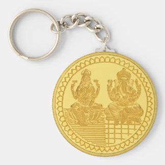 LAKSHMI AND GANESH GOLD COIN DESIGN BASIC ROUND BUTTON KEYCHAIN