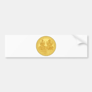 LAKSHMI AND GANESH GOLD COIN DESIGN BUMPER STICKER