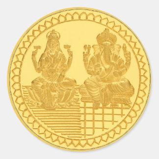 LAKSHMI AND GANESH GOLD COIN DESIGN CLASSIC ROUND STICKER