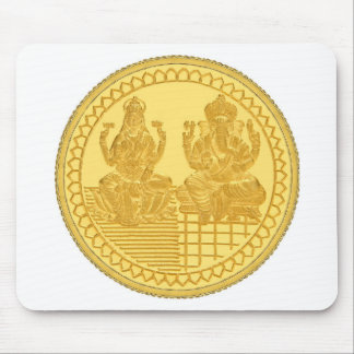 LAKSHMI AND GANESH GOLD COIN DESIGN MOUSE PAD
