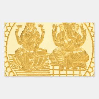 LAKSHMI AND GANESH GOLD COIN DESIGN RECTANGULAR STICKER