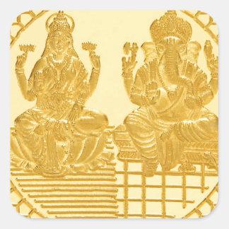 LAKSHMI AND GANESH GOLD COIN DESIGN SQUARE STICKER